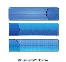 Blue high-detailed modern web buttons. - Set of blank blue...