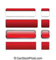 Red high-detailed modern web buttons - Set of blank red...