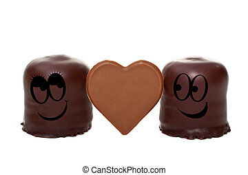 two marshmallows falling in love - two romantic marshmallows...