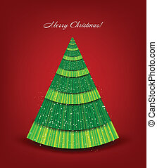 Christmas red background with green tree. Vector