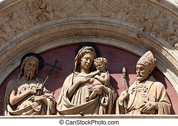Madonna and Child on one of the portals in Montepulciano