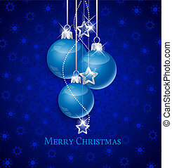 Christmas balls - Snowflake background and blue Christmas...