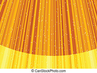 Magic stars on rays of golden light. Vector