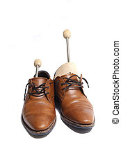 Shoes with stretchers - Brown leather shoes with stretchers