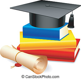 Graduation cap and books. - Graduation cap on stack of color...