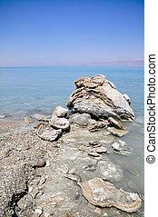 Crystalic salt on the beach of the Dead Sea,