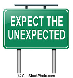 Expect the unexpected - Illustration depicting a roadsign...