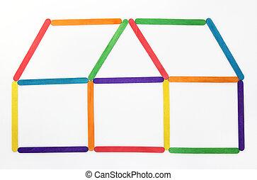 做, 鮮艷, 房子, 木頭, 棍, 冰淇淋, 圖象