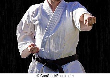 Judo, grado, centure, negro