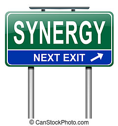 Synergy concept - Illustration depicting a roadsign with...
