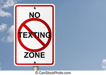 No Texting Zone - An American road sign with sky background...