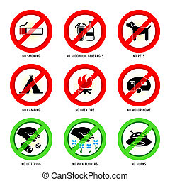 Park signs | Set I - Park prohibited signs and ecology...