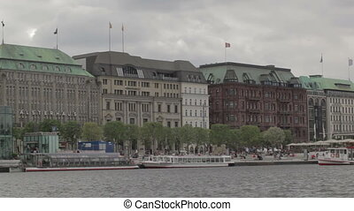 Hamburg, Germany. Elbe river. - HAMBURG - JUNE 1: Hamburg,...