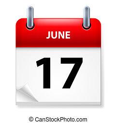 Calendar - Seventeenth June in Calendar icon on white...