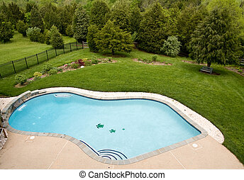 Overview of luxury pool - View of luxury pool and deck with...