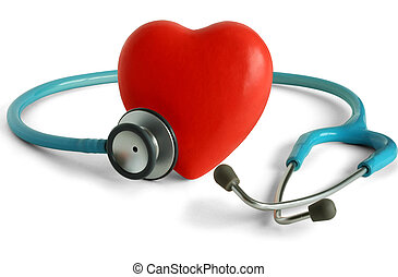 Heart Care - Heart and a stethoscope isolated in white...