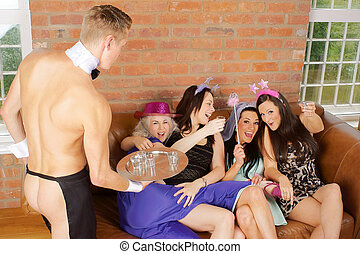 Bachelorette party or hen night and cheeky butler - A...