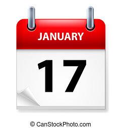 Calendar - Seventeenth January in Calendar icon on white...