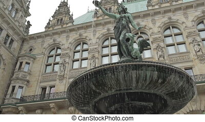 Fountain near the Rathaus in Hamburg - Fountain near the...