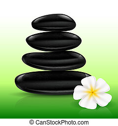 Stones spa with white Flower Illustration for design