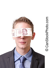 A smiling businessman blindfolded by a 500 mexican pesos...