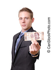 Young businessman proudly showing a 500 pesos note