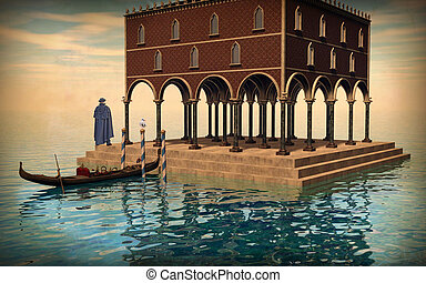 Surreal illustration of Venice lagoon, man solitude