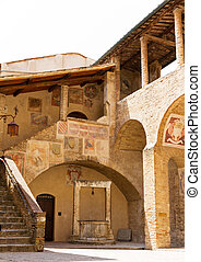 Italian courtyard - Typical Italian courtyard with a well