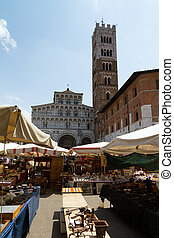 Lucca Cathedral and market - The Lucca Cathedral seen from...