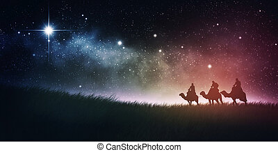 Three wise men follow star with space background
