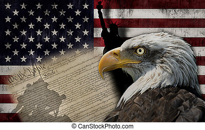 American flag and monuments - Bald eagle and the silhouette...