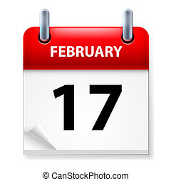 Calendar - Seventeenth February in Calendar icon on white...