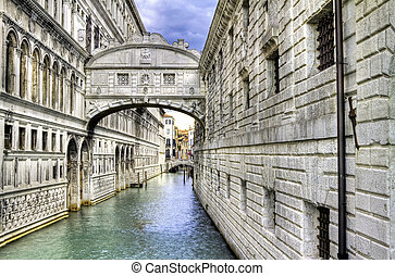 Bridge of sighs Ponte dei Sospiri in Venice, Italy