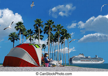 Permanent Vacation - A cruise ship and a person relaxing on...