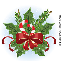 Christmas holly berry branches and bow isolated - vector -...