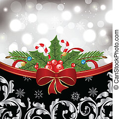 Illustration Christmas glowingl packing, ornamental design elements - vector