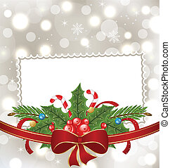 Christmas elegant card with holiday decoration -...