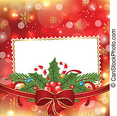 Greeting elegant card with Christmas decoration