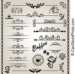 Set floral ornate design elements (7) - Illustration set...