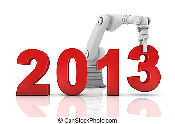 Industrial robotic arm building 2013 year isolated on white...