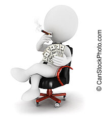 3d white people boss seated on a leather chair, with a cigar...