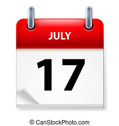 Calendar - Seventeenth July in Calendar icon on white...