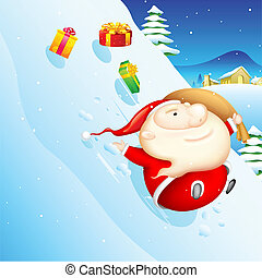 Sliding Santa - illustration of Santa sliding in snow with...