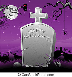 Tomb Stone in Halloween Night - illustration of Happy...
