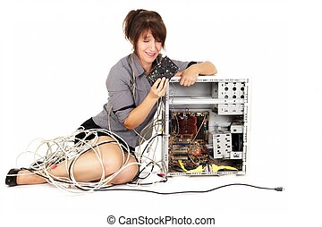 computer learning - woman holding hard disk drive trying to...