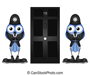 Comical policemen guarding a black door isolated on white...