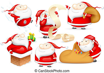 Santa in different Mood - illustration of Santa Claus doing...