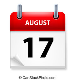 Calendar - Seventeenth in August Calendar icon on white...