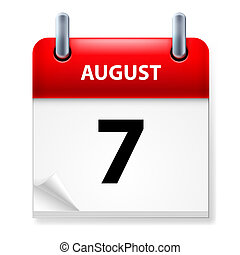 Calendar - Seventh in August Calendar icon on white...