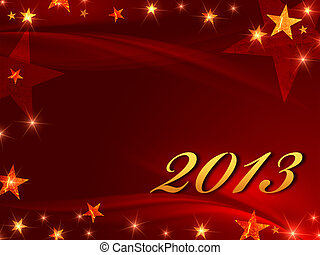 golden year 2013 with stars - year 2013 over red background...